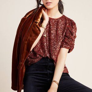 Anthropologie Marie Sequined Blouse Top Copper